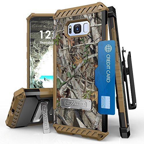 Galaxy S8 Case, [Tri Shield] Hybrid Rugged Full Body Armor Defender Cover with kickstand, Card Slot & 360°Belt Clip Holster For Samsung Galaxy S8 (Camo) by Mstechcorp