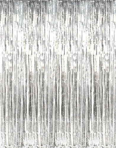 Shiny Silver Tinsel Foil Fringe Door Window Curtain Party Holiday Decoration (Holiday Theme Party Costume)
