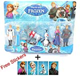 Happy GiftMart Frozen Characters Large Size 12CM Action Figures - Set of 6 pcs With Free Stickers