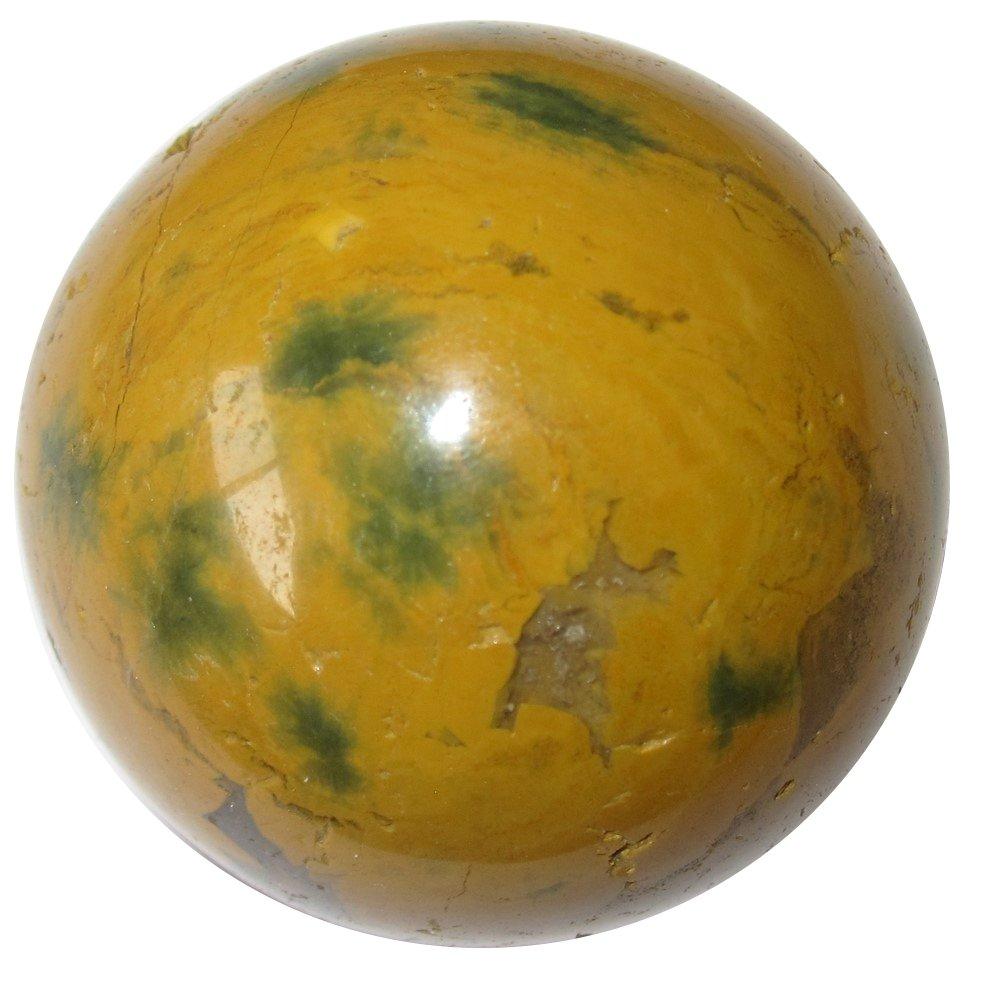 サテンクリスタルジャスパー海洋ボールプレミアムマダガスカル球水要素エネルギーフローストーンp01 1.6 Inches イエロー jasperoceanball01-mustardgreen-1.6 B07BDPPXM8 Mustard & Green 1.6 Inches