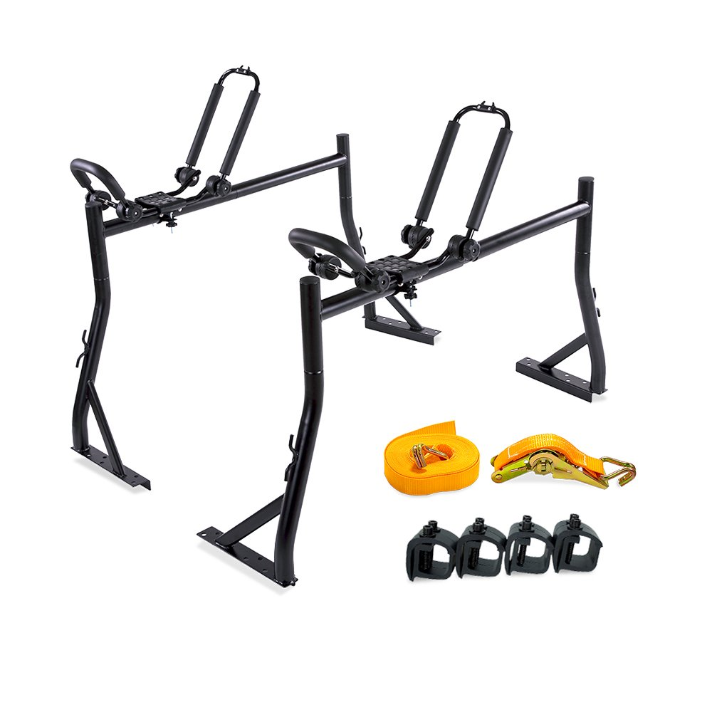 AA Products Model X35 Truck Rack with (8) Non-Drilling C-Clamps and Double Folding Kayak J-Racks w/Extended Bolts and Heavy Duty 1 Ton Ratcheting Strap
