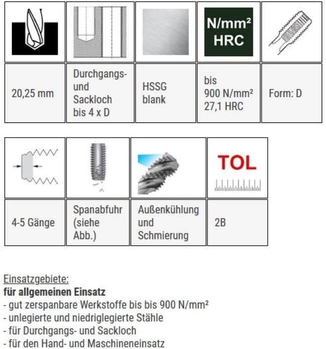 Gewindeschneider Gewindebohrer HSSG Einschnittgewindebohrer Form D UNF 7//8 x 14