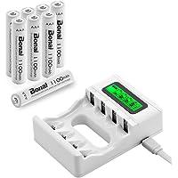 BONAI Lot de 8 Piles Rechargeable AAA 1100mAh avec 4 Bay LCD Chargeur Piles Rechargeables pour AA/AAA NiMH/NiCD Rechargeables Batterie(8AAA+Chargeur)