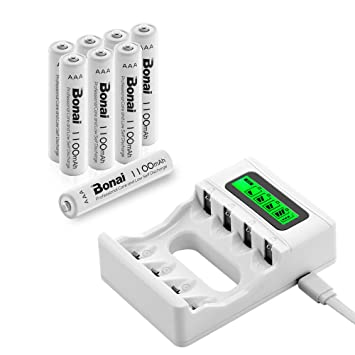 BONAI 8 Piezas de AAA 1100mAh Ni-MH Baterías Recargables con 4 Bay AA AAA Cargador de Batería