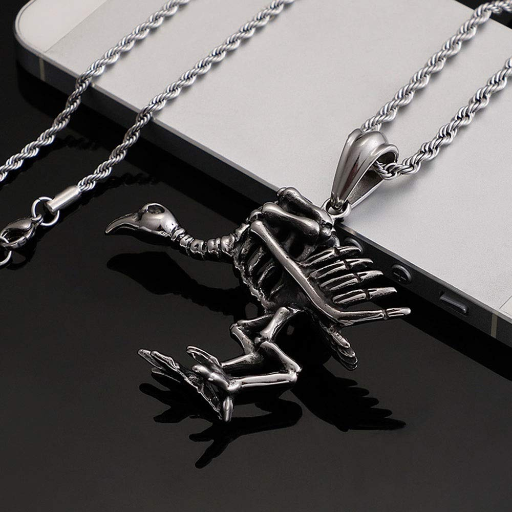 Color : Silver Black , Size : 4758MM Punk Titanium Steel Necklace Mens Silver Black Gothic Crow Skeleton Pendant Stainless Steel Necklace DIY Jewelry For Teens Man Stainless Steel Chain Pendant