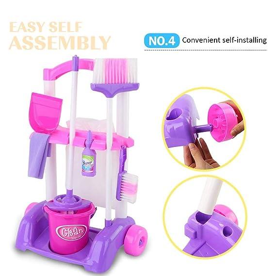 Carro de limpieza de juguete, Niño Juguete Electrodomésticos de Carrito De Limpieza Con Accesorios: Amazon.es: Bebé
