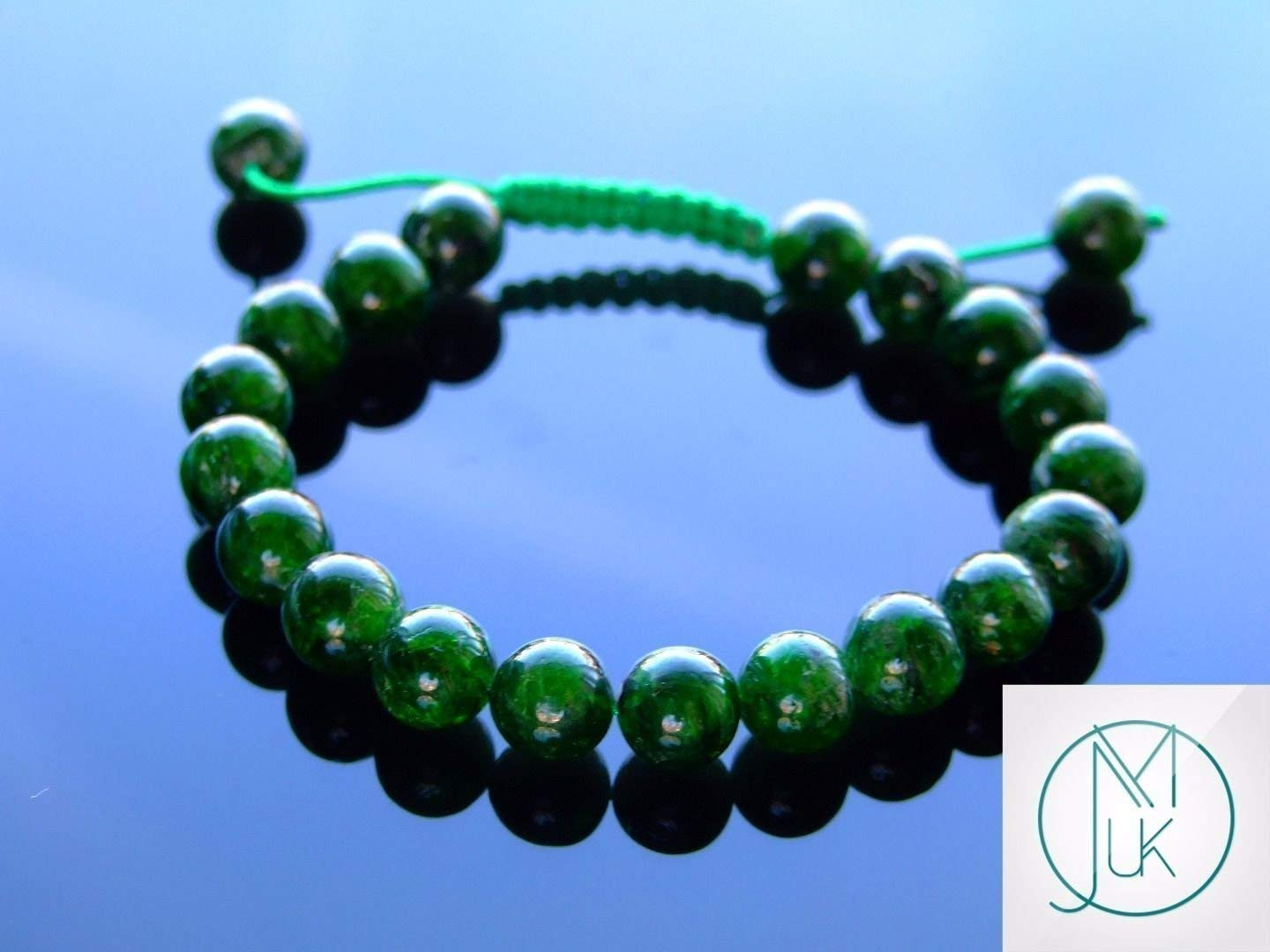 Diopside Natural Gemstone Bracelet Beaded 6-9 Macrame Healing Stone Chakra Reiki With Pouch FREE UK SHIPPING