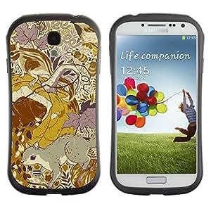 "Hypernova Slim Fit Dual Barniz Protector Caso Case Funda Para SAMSUNG Galaxy S4 IV / i9500 / i9515 / i9505G / SGH-i337 [Diseño floral amarillo mostaza vintage""]"