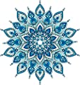 Wallmonkeys Decorative Blue Mandala Wall Decal Peel and Stick Graphic WM376331