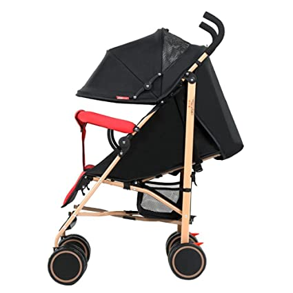 Amazon.com : Baby cart Ultra-Light can sit Reclining Folding Shock Absorber Push Umbrella car (Color : Coffee Color) : Baby