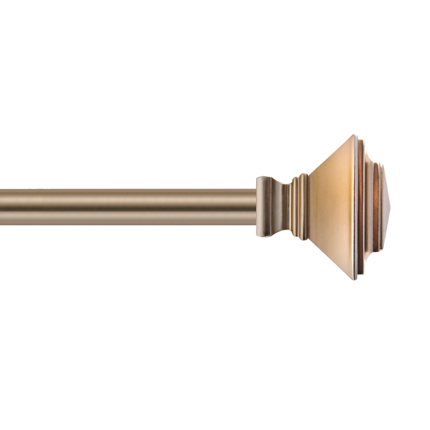 Sheffield Home, AMG and Enchante Accessories Pyramid Curtain Rod 36 to 66-Inch, R2212 WGD, Warm Gold