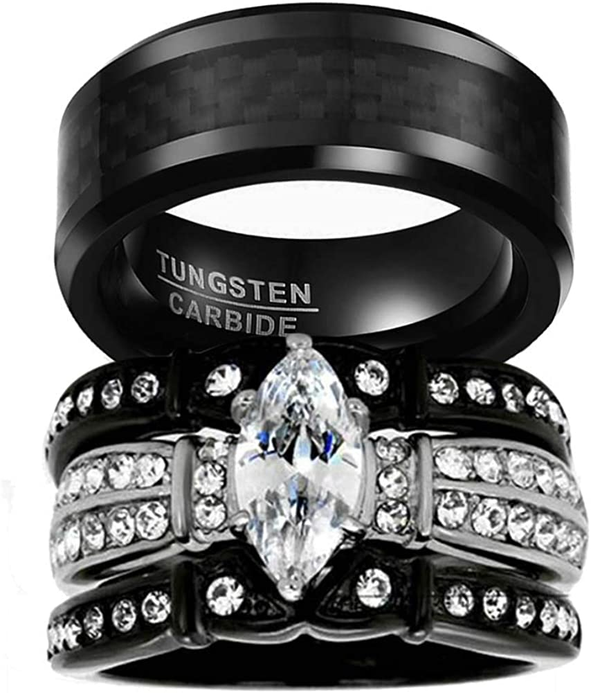 9 15 Women Ring Size Gemini His and Her Black Titanium Promise Rings Couple Matching Wedding Rings Set 6mm /& 4mm Width Men Ring Size