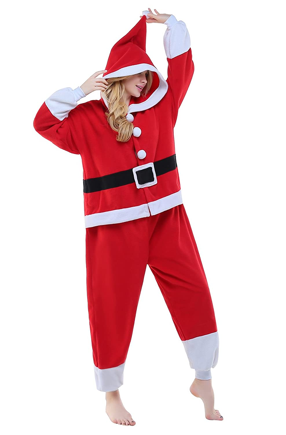 CANASOUR Christmas Santa Claus Cosplay Anime Unisex Adult Pajamas one-Piece Onesie