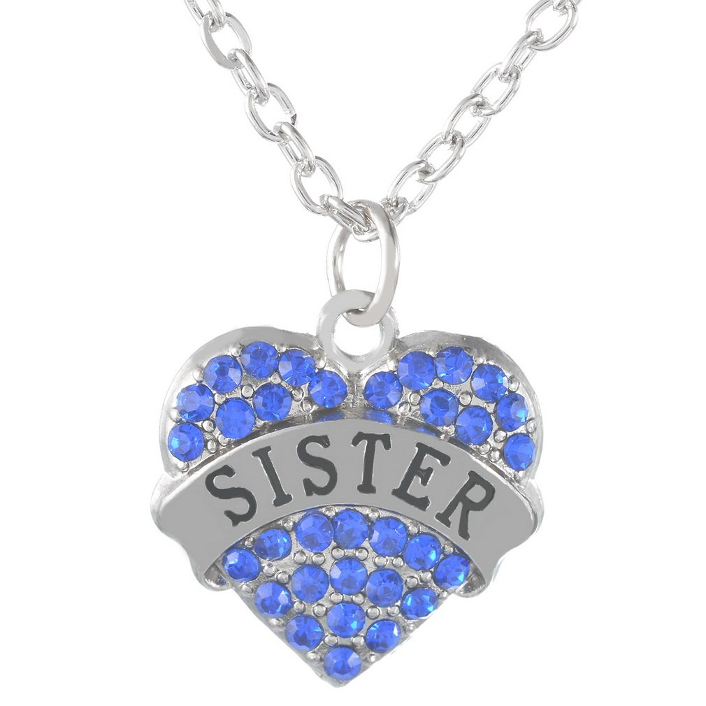 RainBabe Necklace Love Heart Shape Letter Print Rhinestone Pendent Necklace 1Pc (Blue Sister)