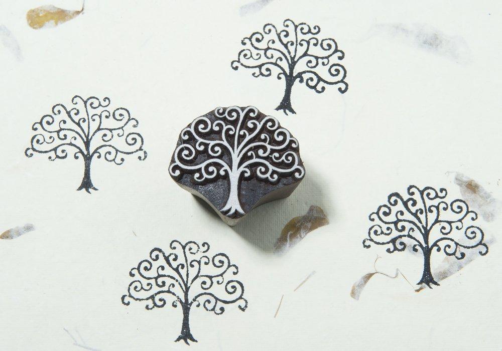 Blockwallah Curl Tree Wooden Block Stamp