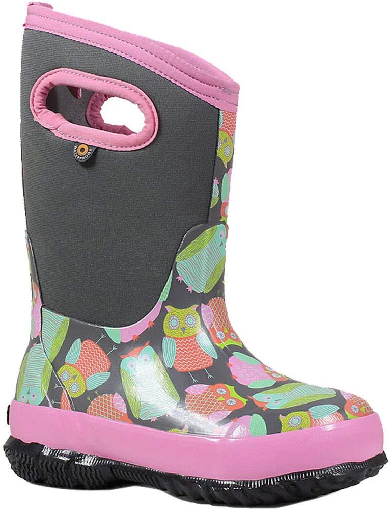 Bogs Kids Classic Owl Snow Boot, Gray Multi, Size 3 M US Little Kid