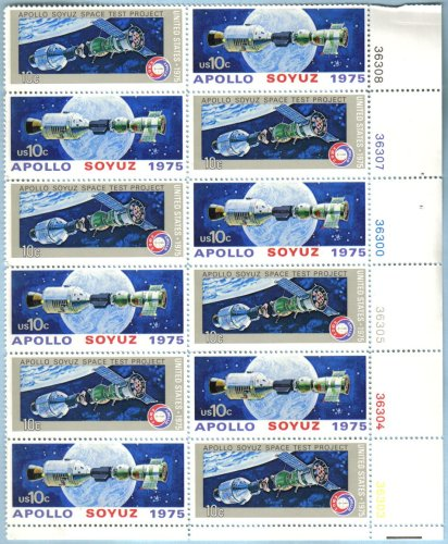 1975 APOLLO-SOYUZ MISSION #1570a Plate Block of 12 x 10 cent US Postage Stamps