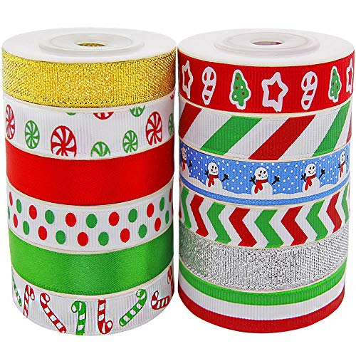 Christmas Ribbon; 60 Yards 3/8'' Grosgrain Satin Fabric Xmas Ribbons for Crafts Decoration Holiday Box Gift Wrapping, Hair Bow Clips, Sewing, Wedding, Baby Shower (12Colors x 5Yds Packed in Roll)