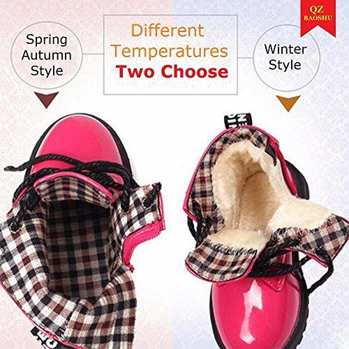 QZBAOSHU Baby Jungen Mädchen Stiefeletten Wasserdichte Schneeschuhe für 2-12 Jahre Alte Kinder Bitte Kaufen Sie 2 Große Größe Rose Rot: Tuch innen