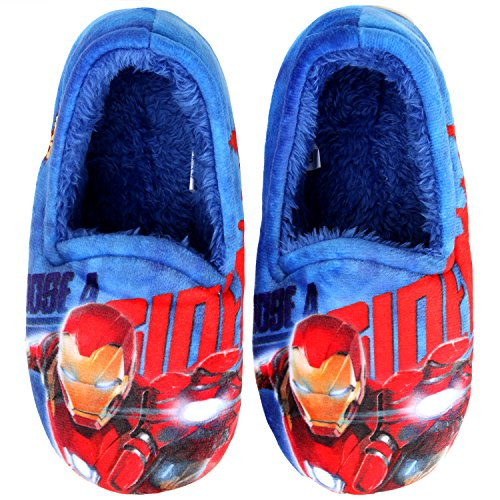 Joah Store Slippers Marvel Avengers Iron Man Flash Beam Boys Warm Indoor Blue Shoes (1 M US Little Kid, Iron Man) ()