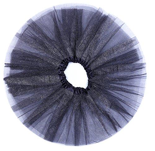 [Anleolife 12'' Birthday Tutu Skirt For Girls Ballet Dance Tutus Glitter Christmas Halloween Gift] (Light Up Black Tutu)