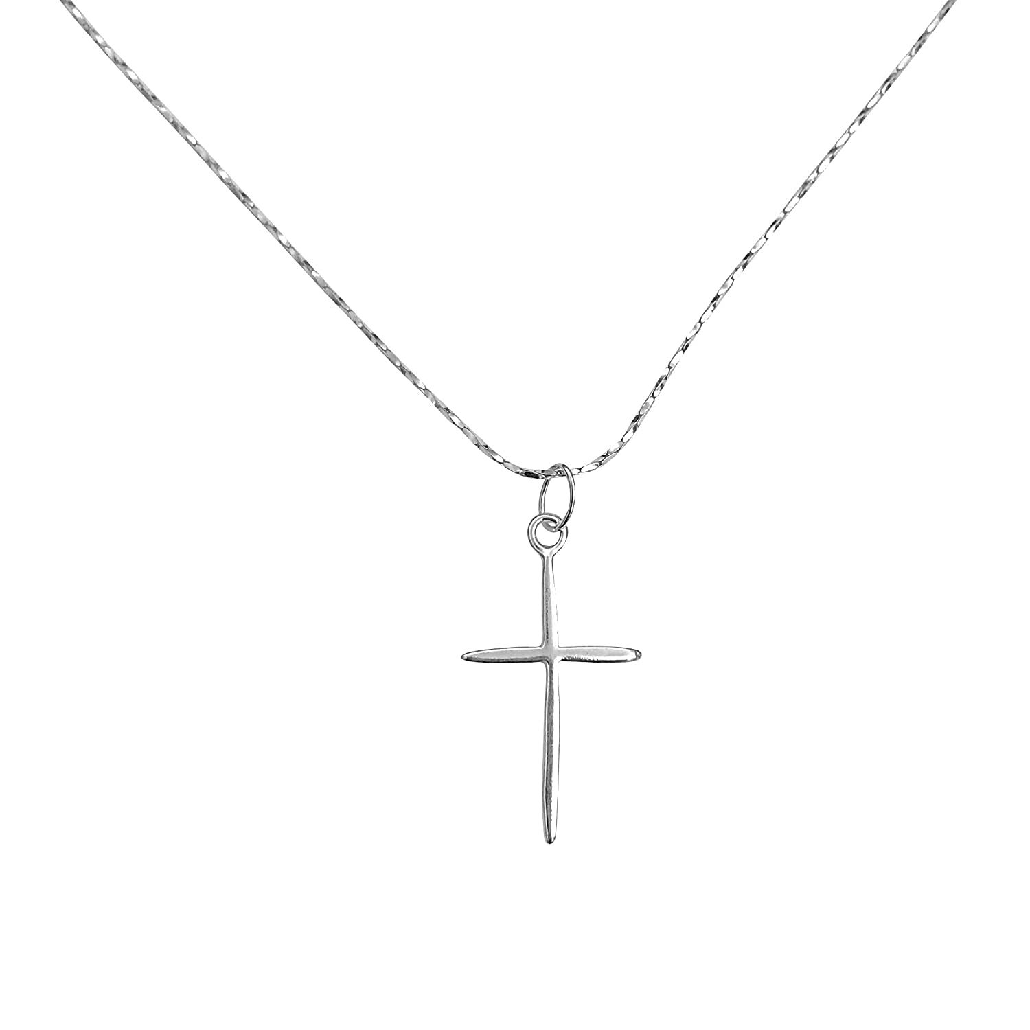 DragonWeave Petite Rounded Sterling Silver Cross Charm Necklace with Gossamer Thin Sterling Silver 18 Chain