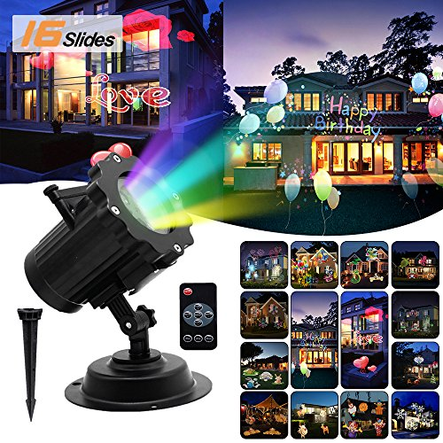 ([Newest] LED Projector Lights, Waterproof Outdoor and Indoor Landscape Light with 16 Slides & Remote Control for Party,Birthday Party, Valentines Day and Wedding)