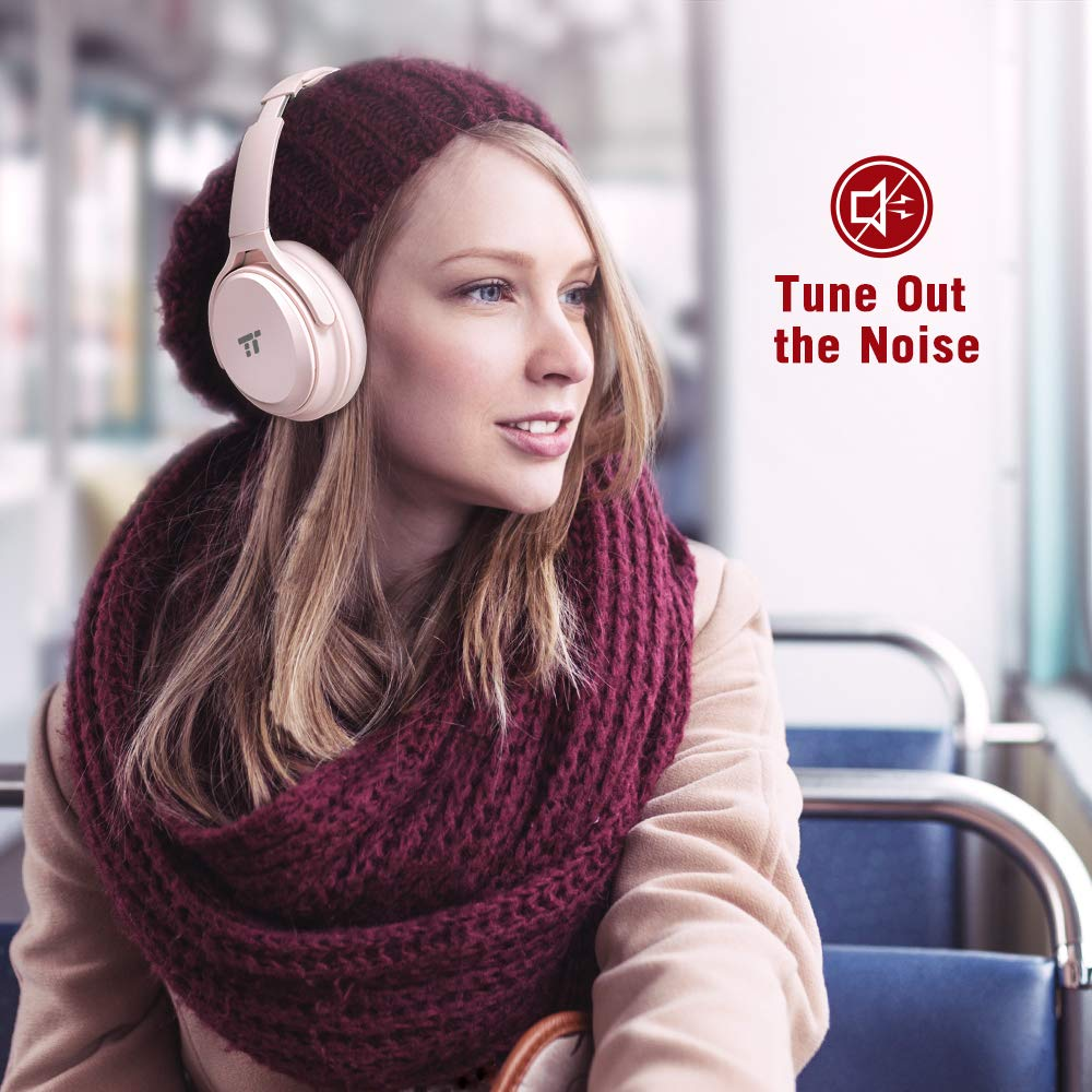 TaoTronics Active Noise Cancelling Bluetooth Headphones Over Ear Wireless Headset Dual 40 mm Drivers with Powerful Bass (30 Hour Playtime, CVC 6.0 Noise-Cancelling Mic, High Clarity Sound)-Pink TT-BH22(pink)