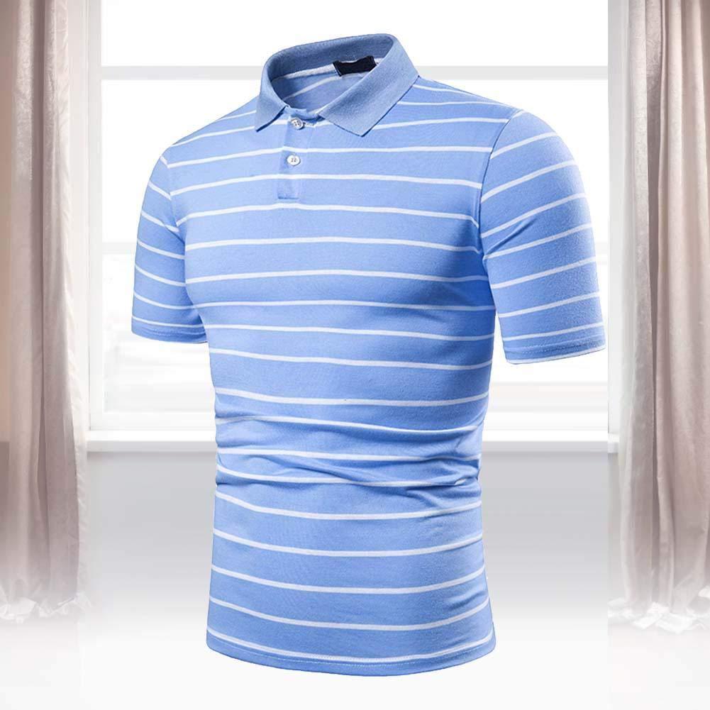 Short Sleeve Shirt Men Summer Shirt Pinstripe Fashion Turn-Down Collar Tops