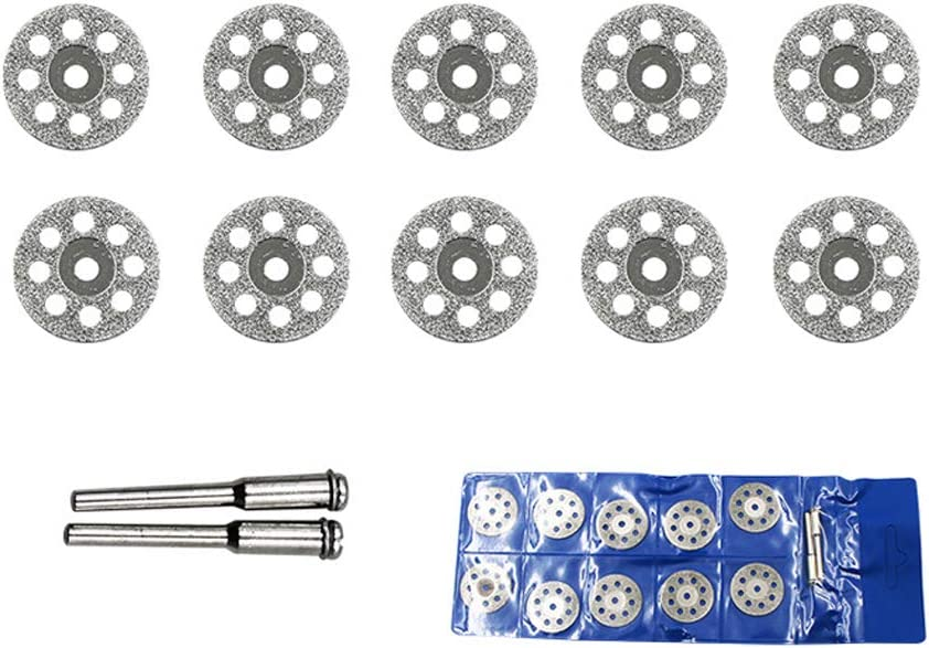 Chiloskit 10 pcs 20mm Diamond Cutting Discs Cut Off Wheel Coated Rotary Tools With 1//8 Mandrel for Dremel Wen Rotary Tools Replacement for Cutting Gemstones Glass 20mm Geramics,