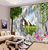 Sproud 3D Printing Curtains Lifelike Room Decorations Blackout Cortians Beautiful Full Light Shading Bedroom Livng Room Curtains 260Dropx380Wide(Cm) 2 pieces