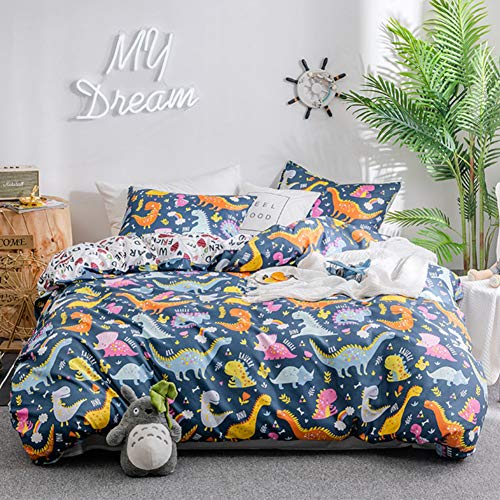 Duvet Cover Set Twin Size Kids Bedding Sets Comforter Cover with Soft Lightweight Microfiber 1 Duvet Cover and 1 Pillowcase(Twin,Dinosaur) Navy Blue