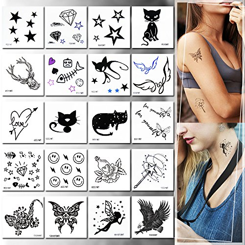 Temporary Tattoos for Girls, 20pcs Stickers Tattoos Flower Tattoos Fake Tattoos Rose, Animals, Flowers and Butterfly, Easy to Apply and Long Lasting for Women Men Girls and Boys
