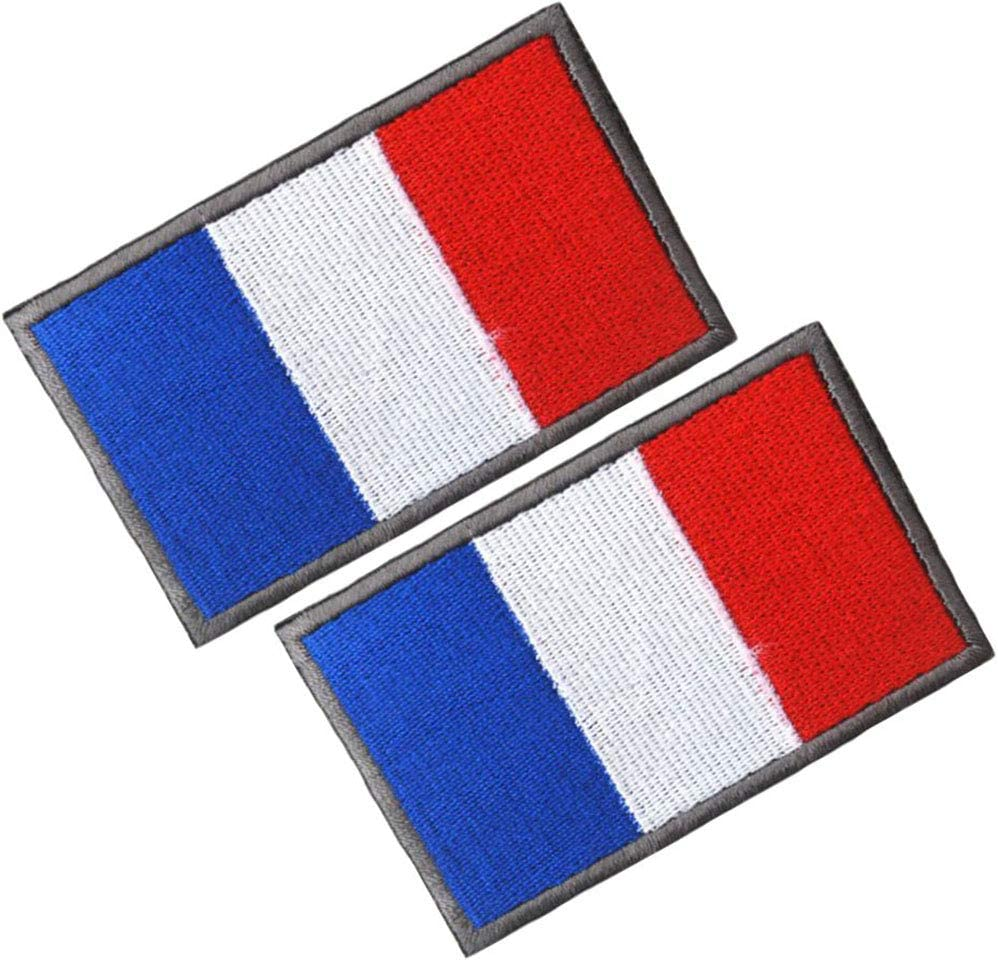 Tactical Combat Military Hook and Loop Badge Embroidered Morale Patch HFDA 2 Piece Different Country Flags Patch France 2