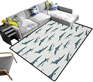 Sea Animals Rugs Pattern with Sharks Swimming to Different Directions Monochromic Sea Indoor/Outdoor Area Rugs Slate Blue Eggsehll (6'x9')