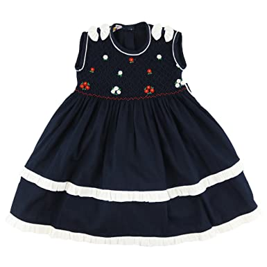 336b19a4bd3 Girls Sleeveless Dress with Smocked Bodice   Hand Embroidered Floral Design  to Front  Amazon.co.uk  Clothing