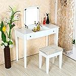 OSPI® Set di mobili per Camera da Letto Trucco da Tavolo da toeletta con cassetti, Specchio, comprende Sgabello, White, 91.5x45x120cm