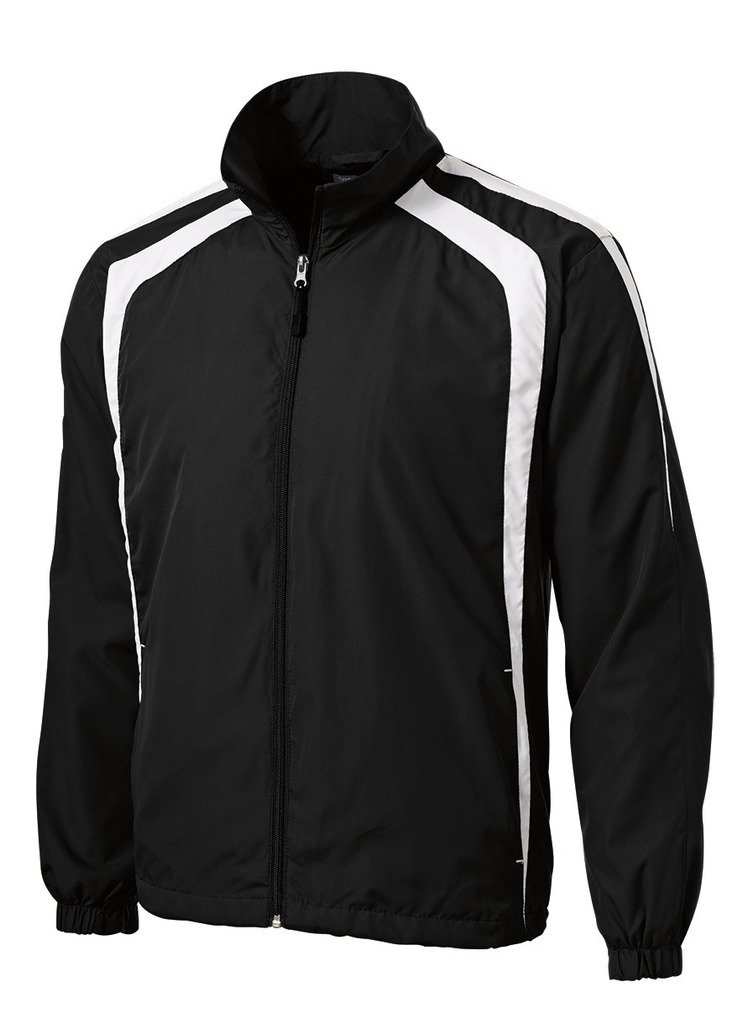 Joe's USA tm Colorblock Full Zip Raglan Jacket-Black/White-L
