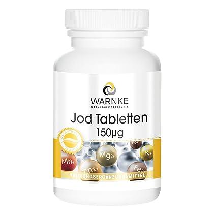Yodo 150µg – Warnke Vitalstoffe – 100% de requerimientos diarios de yodo – 100 comprimidos