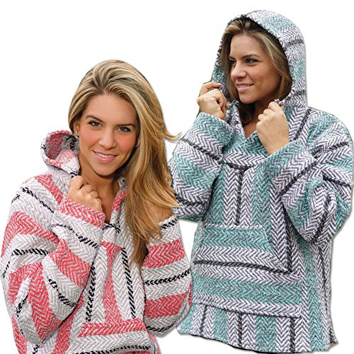 (Set) Soft and Warm Sherbet And Mint Baja Front Pocket Hooded Pullovers 2X (Sherbet Mint)