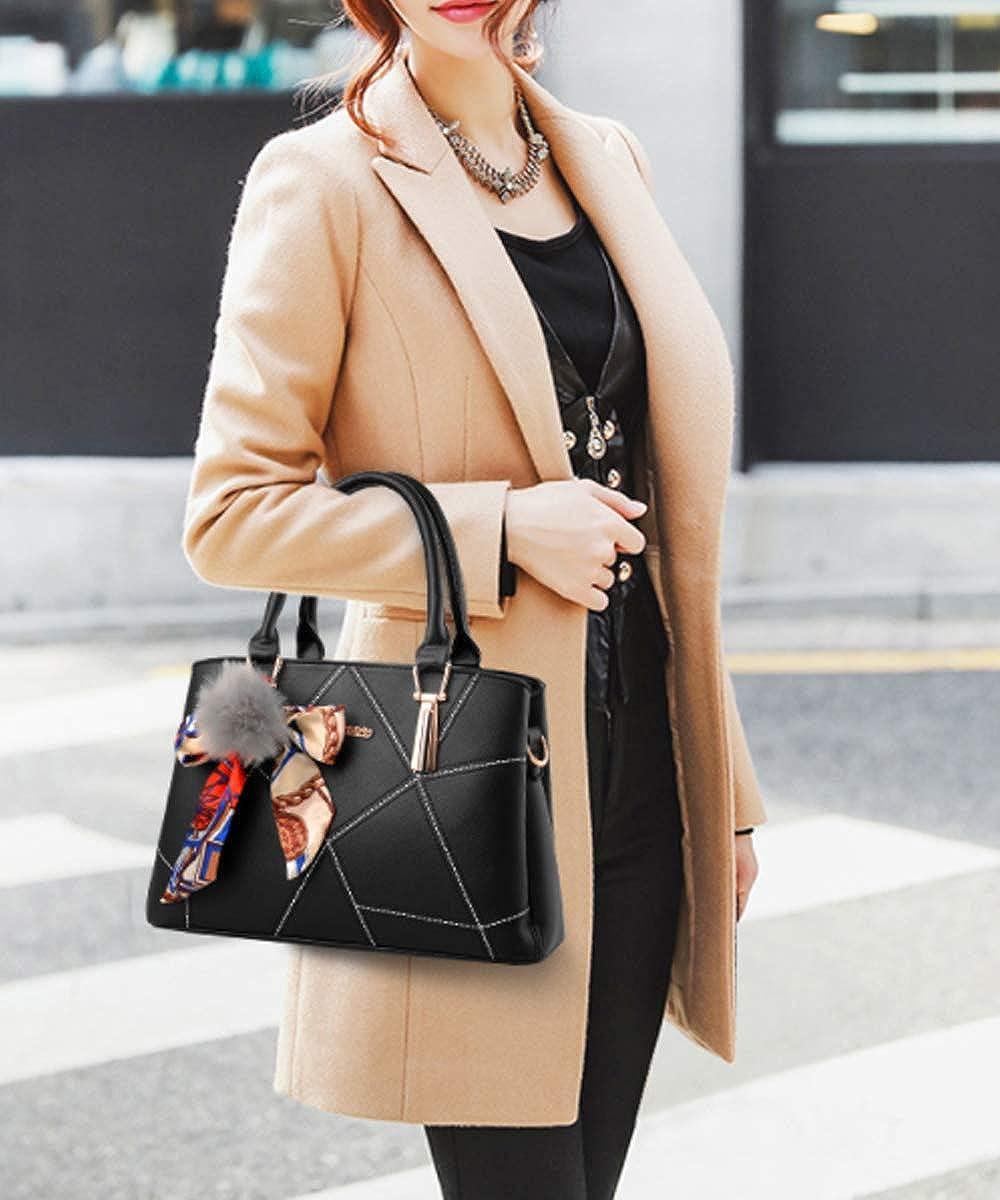 Rullar Moda Giuntura Borsa a Mano Donna Borsa a Spalla Tracolla per PU Pelle Tote con Pendente in Peluche Pochette e Clutch Shoulder Handbag