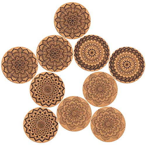 Jeyhoop Coaster, Drink Coasters, Cork Coasters 10PCS 4 Styles Round Cork Wood Drinks Coffee Tea Cup Mat Pad Coasters for Home Office Cafe Restaurant Hotel Random Style 10cm