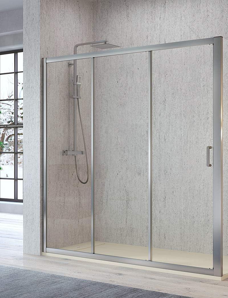 Mampara de Ducha Frontal - 2 Puertas Correderas y 1 Hpja Fija - Cristal de Seguridad de 5 mm - Modelo Diana (98-103 cm): Amazon.es: Bricolaje y herramientas
