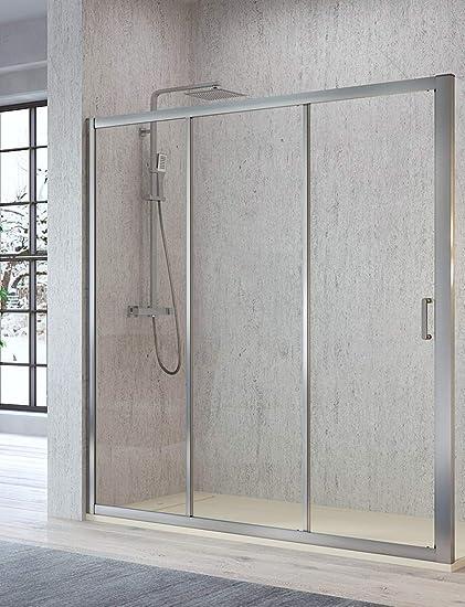 Mampara de Ducha Frontal - 2 Puertas Correderas y 1 Hpja Fija - Cristal de Seguridad de 5 mm - Modelo Diana (128-133 cm): Amazon.es: Bricolaje y herramientas