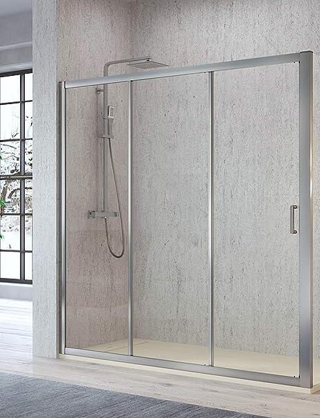 Mampara de Ducha Frontal - 2 Puertas Correderas y 1 Hpja Fija - Cristal de Seguridad de 5 mm - Modelo Diana (104-109 cm): Amazon.es: Bricolaje y herramientas