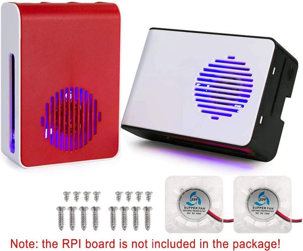 Black White and Red White Flight-sky Plastic Case for Raspberry Pi 4B RPi 4 Model B ABS Protection Case with Cooling Fan LED