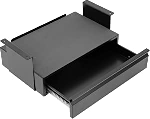 Mount-It! Under Desk Pull-Out Drawer Kit with Laptop and Tablet Shelf | Office Storage Organizer | Mounts to Desktops Tables and Workbenches Over 0.71 Inches Thick | Matte Black