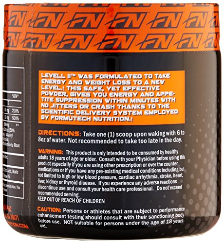 Formutech Nutrition Level II Super Thermogenic, Clean Energy Pre Workout Fat Burner with Appetite Suppression, Tropical Punch, 50 Servings