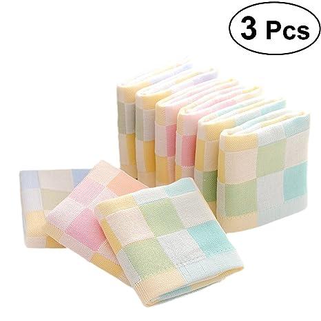 Lurrose - 3 toallas de baño para bebé de cara extra suave reutilizables para piel sensible