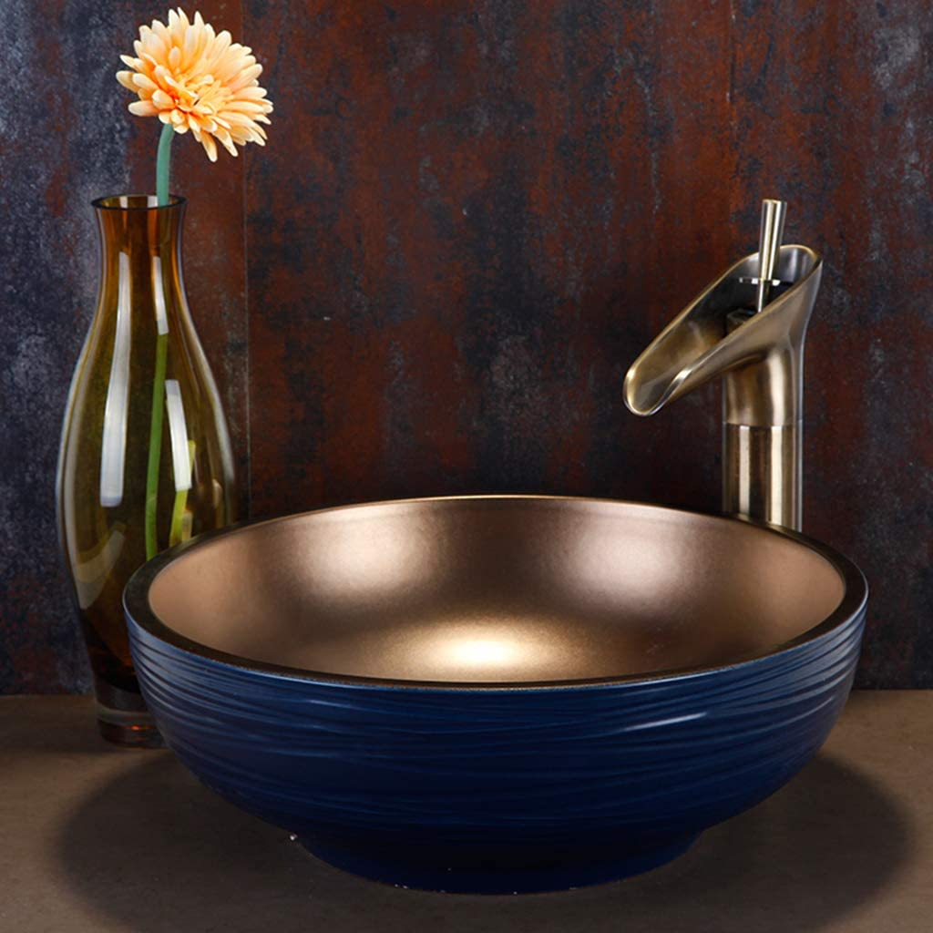 Lavabo /à Poser Lavabo Rond CUI XIA UK Wash basin Lavabo De Salle De Bain en C/éRamique Vasque /à Poser Europ/éEnne 40x15cm